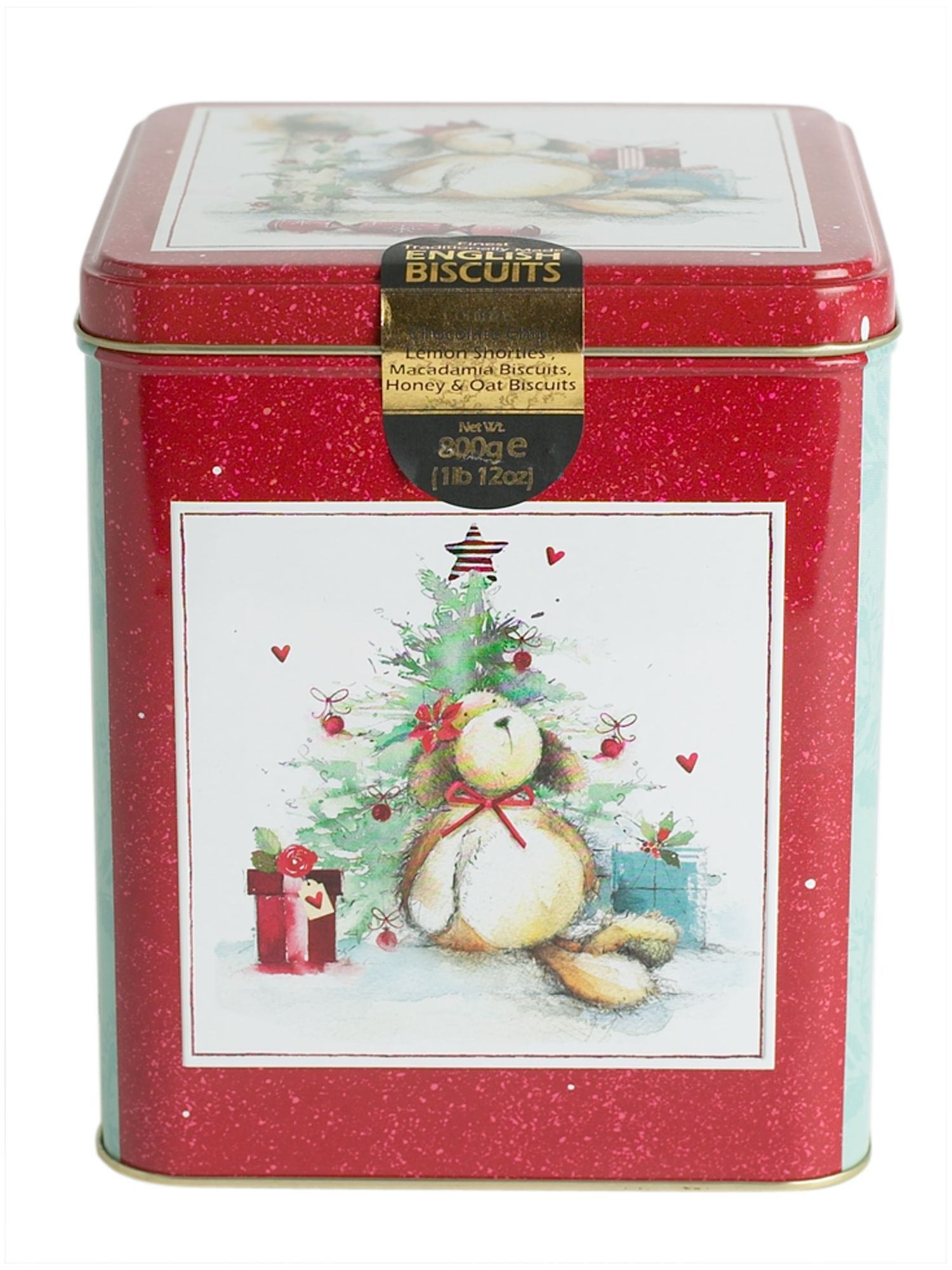 Christmas bear biscuit tin