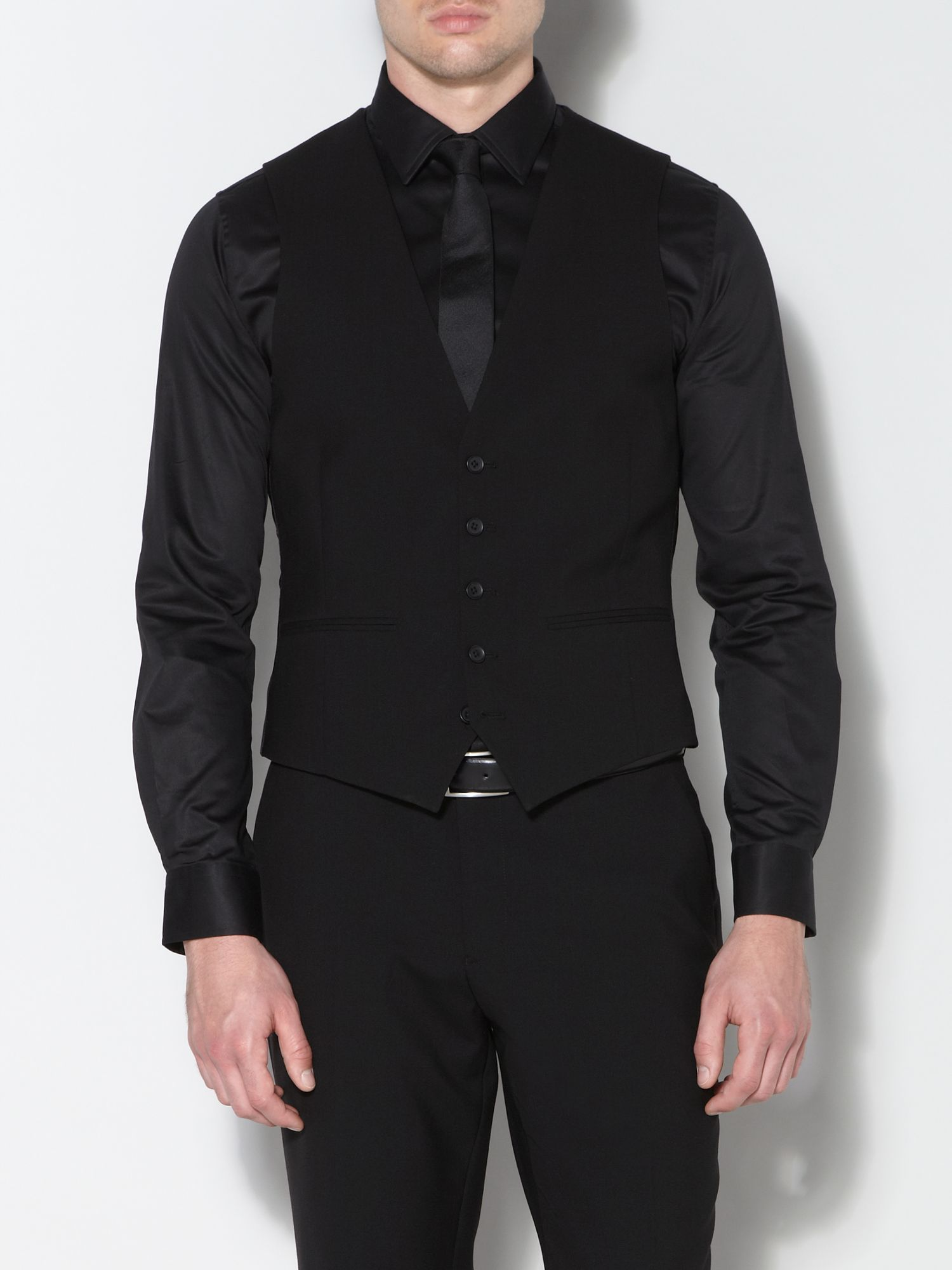 Ultra black three piece suit waistcoat