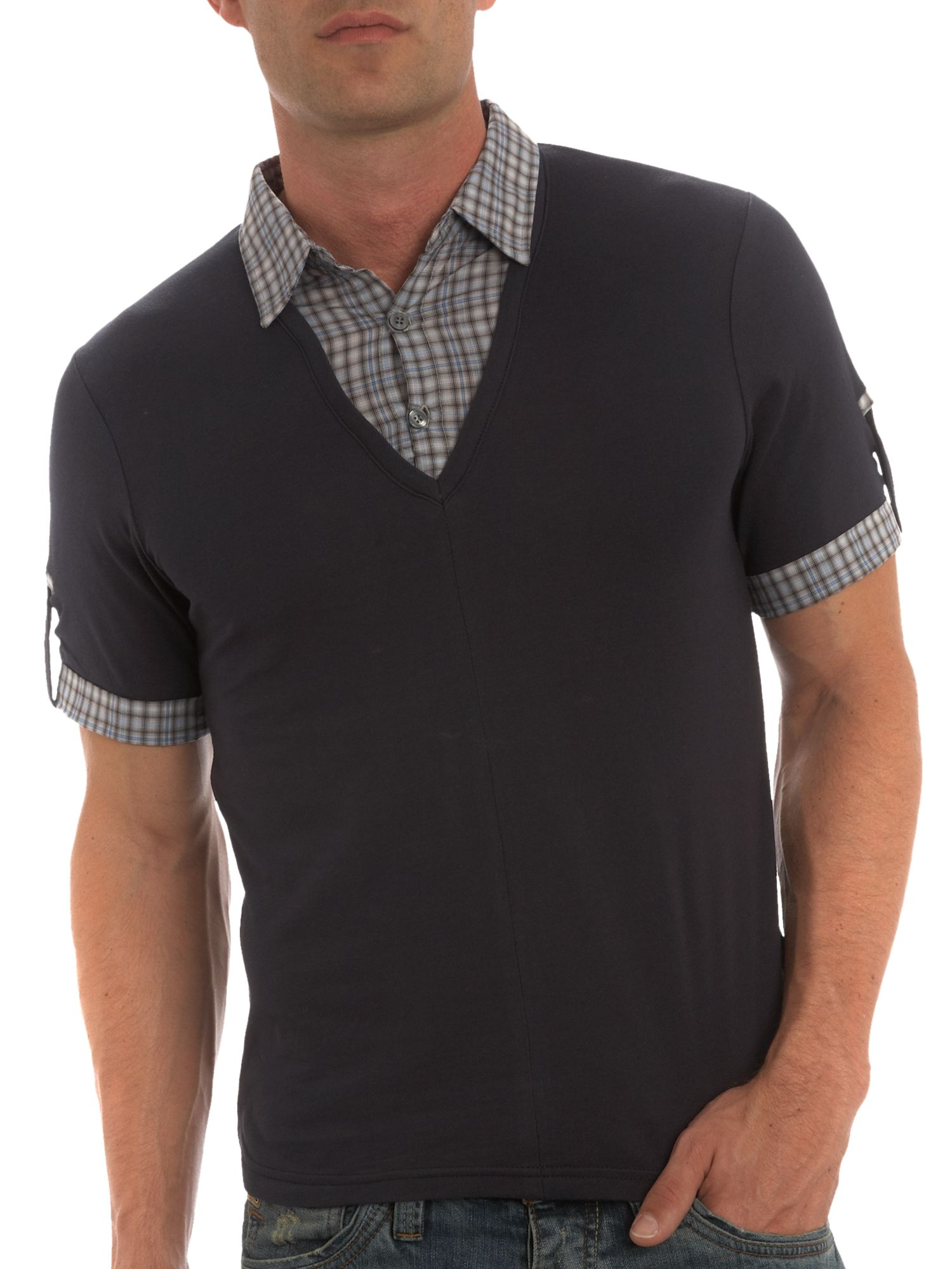 Short-sleeved T-shirt with shirt