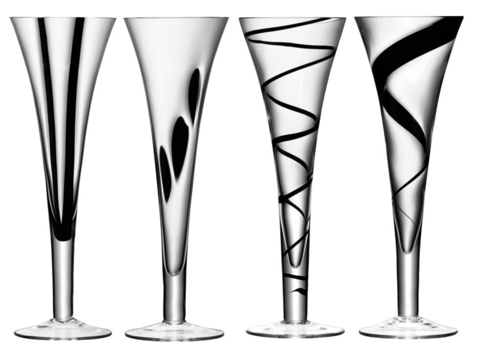 Jazz set of four champagne flutes