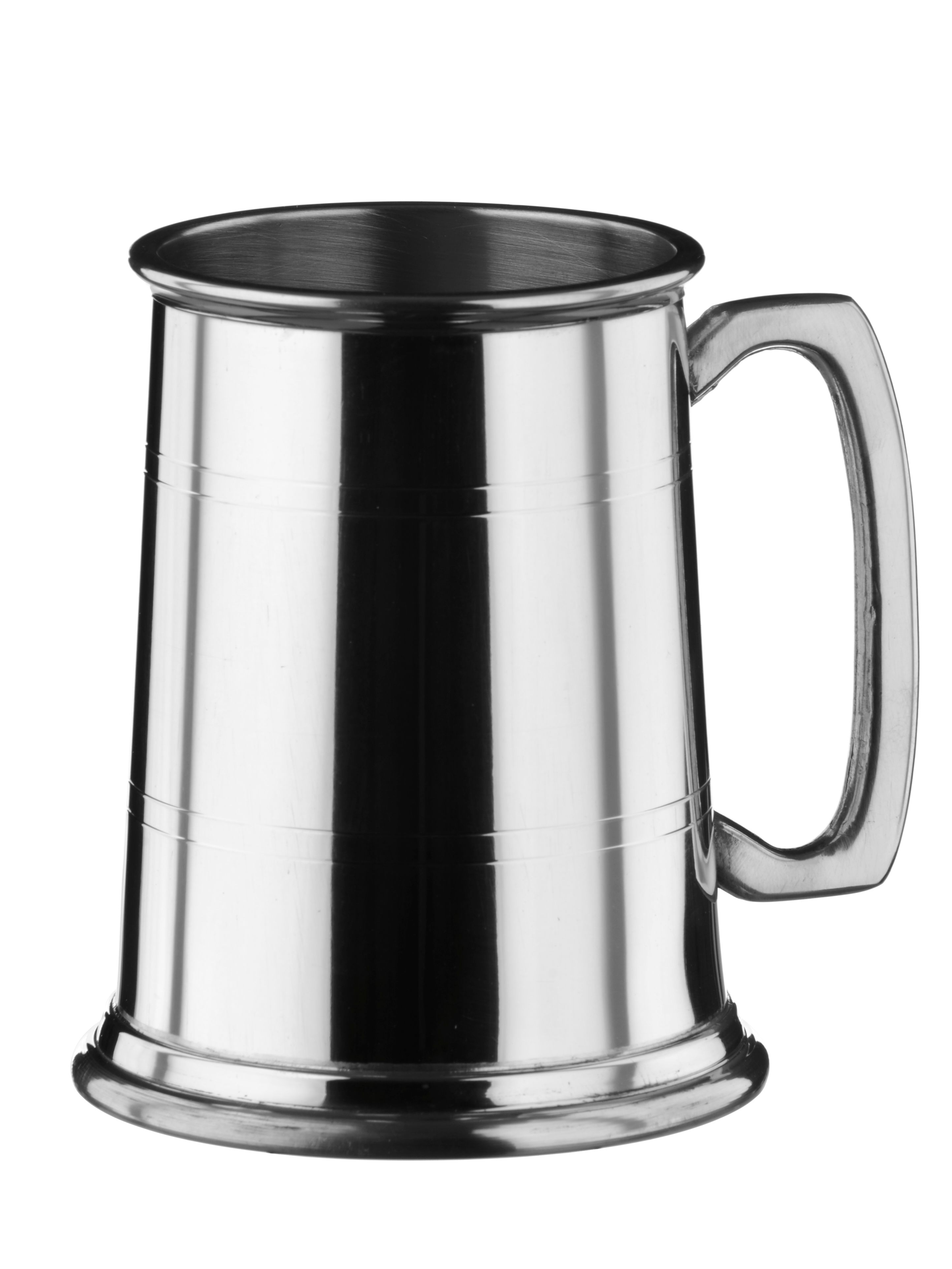 Straight sided 1 pint pewter tankard