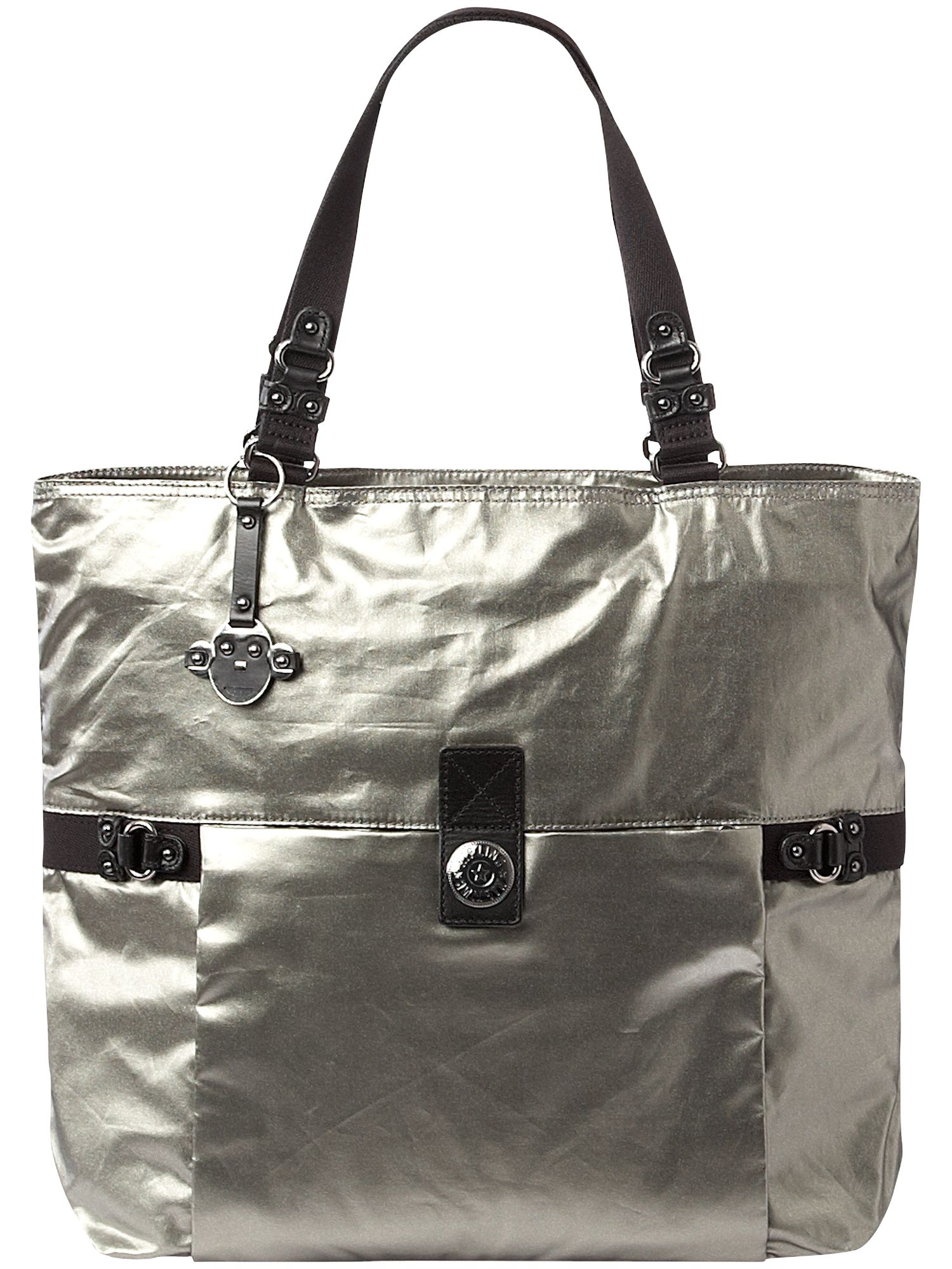 City large metallic nylon shoulder tote