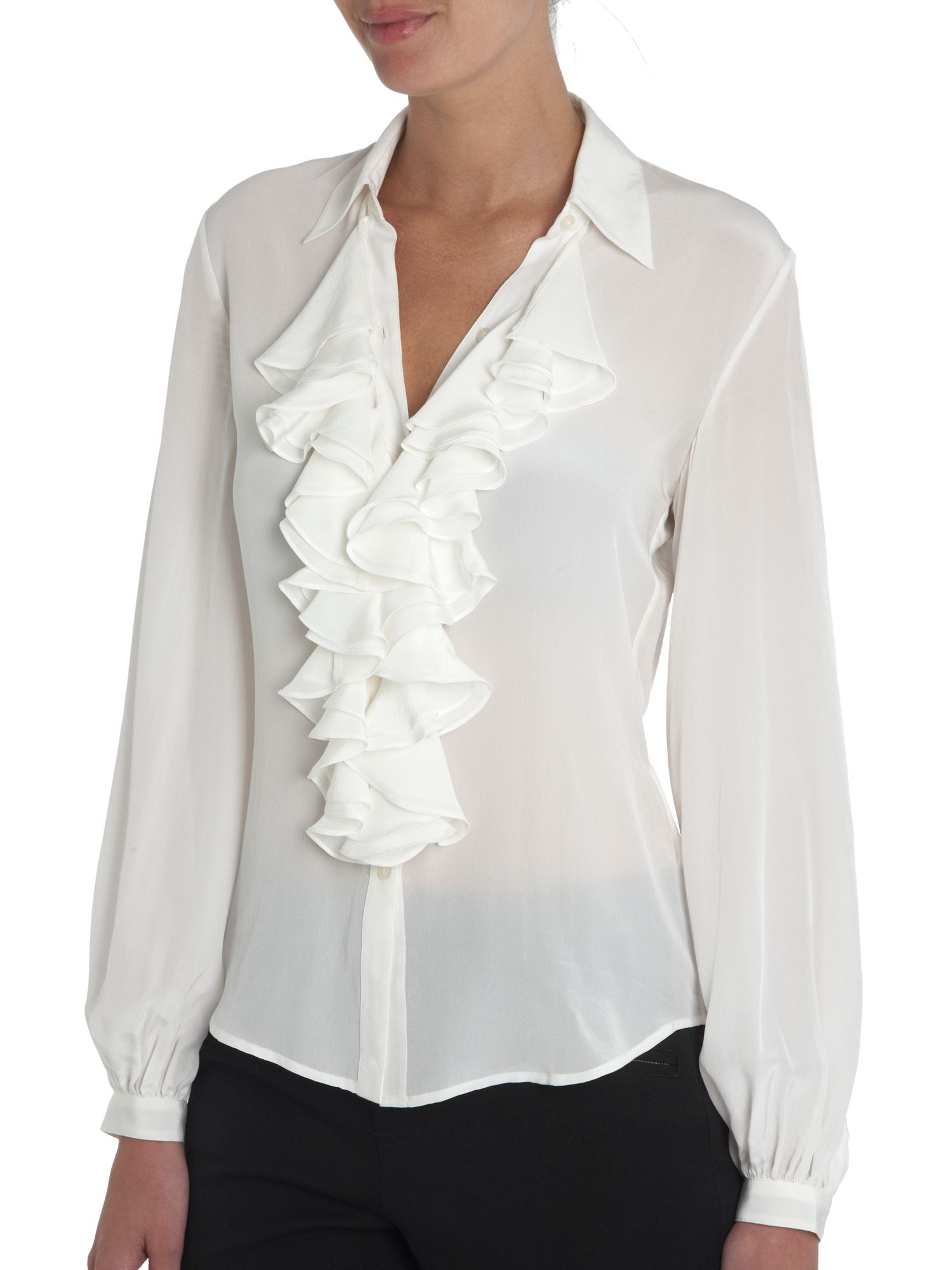 lauren by ralph lauren ruffle front silk blouse review compare prices buy online. Black Bedroom Furniture Sets. Home Design Ideas