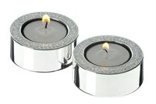 Arthur Price Pair of silver plated diamante tea light holders