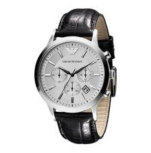 Emporio Armani AR2432 Classic Black Leather Mens Watch