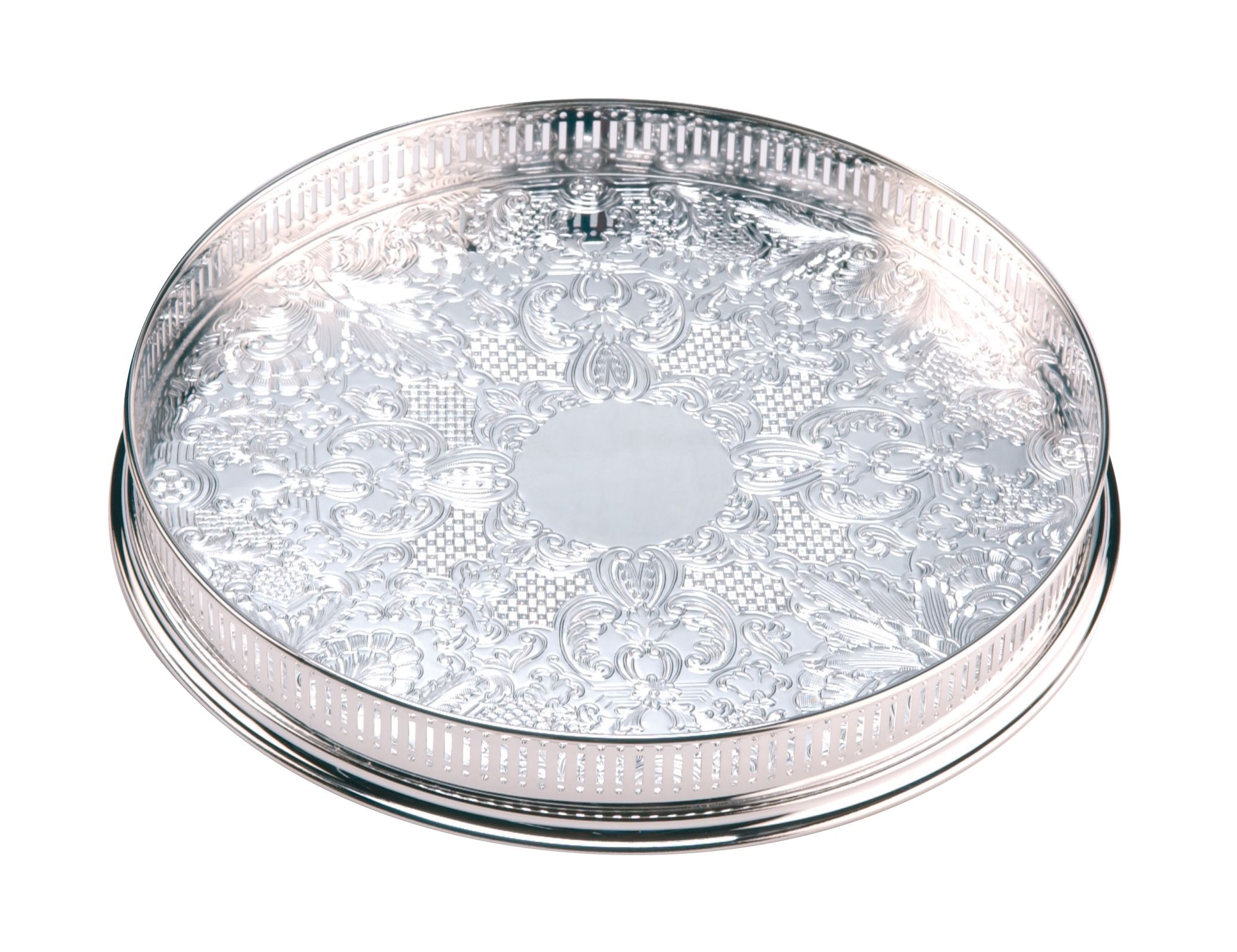 Arthur Price 14 inch round embossed gallery tray