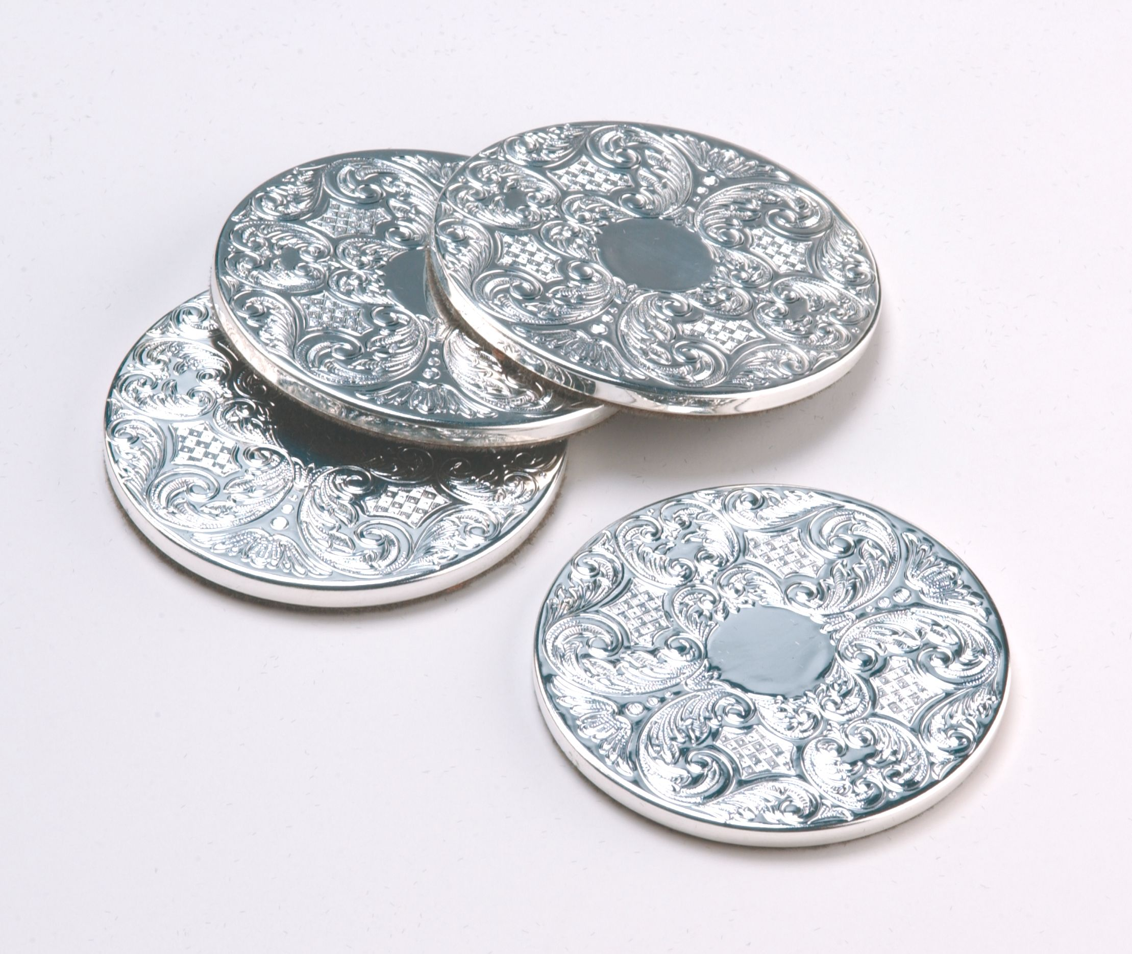Silver plated set of 4 drink mats