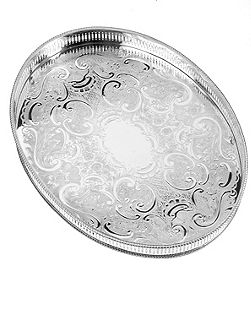 15 1/4 oval mounted gallery tray
