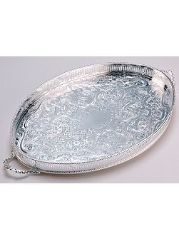 18 oval mounted gallery tray with handles