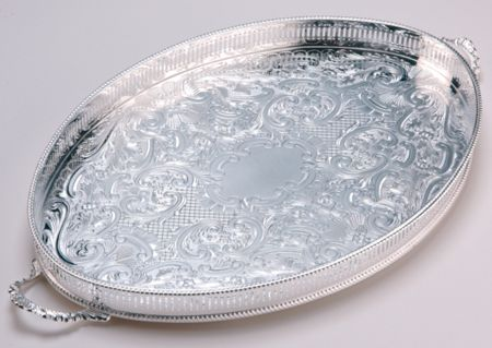 Arthur Price 18 oval mounted gallery tray with handles