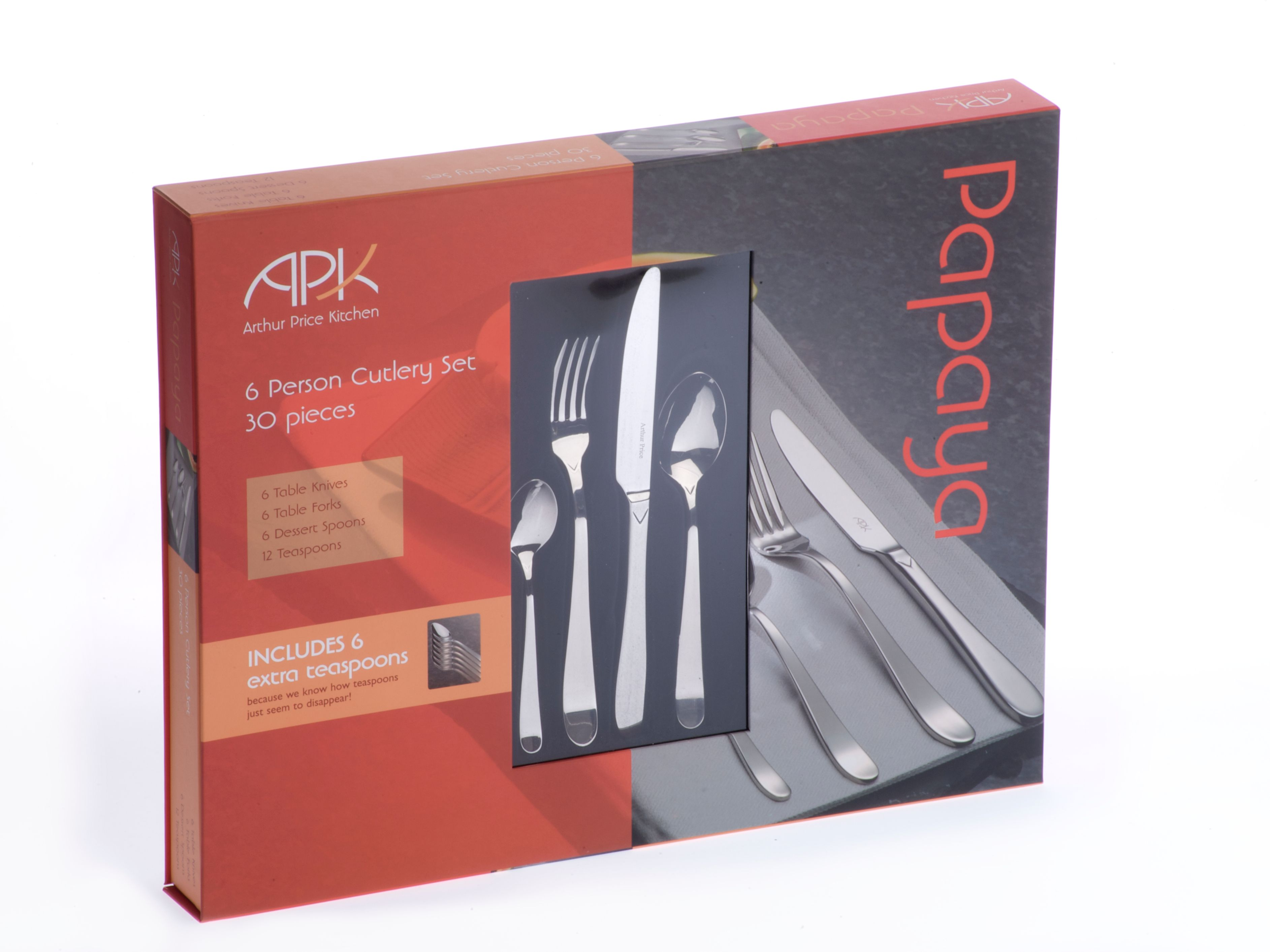 Papaya 30 pieces boxed cutlery set