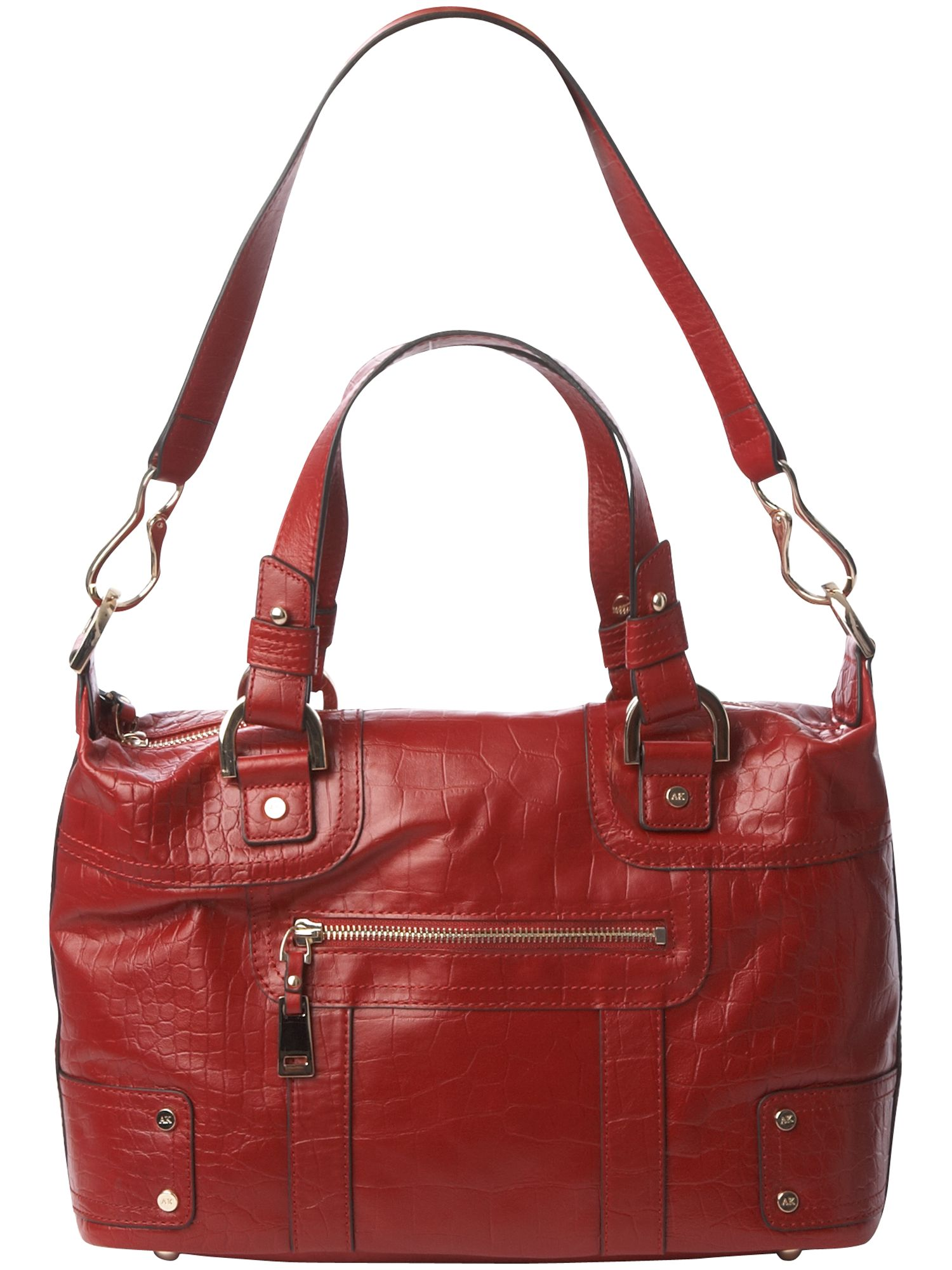 AK Anne Klein Croc Rock medium leather bowling bag product image