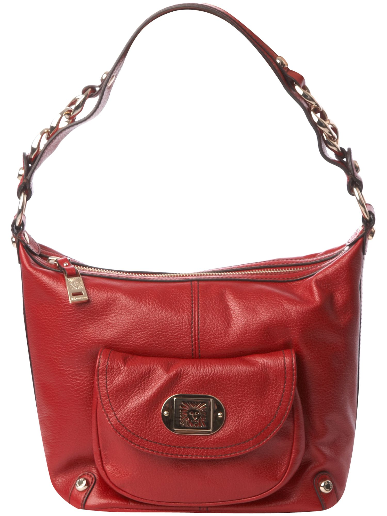 AK Anne Klein Linked in chain detail small leather hobo product image
