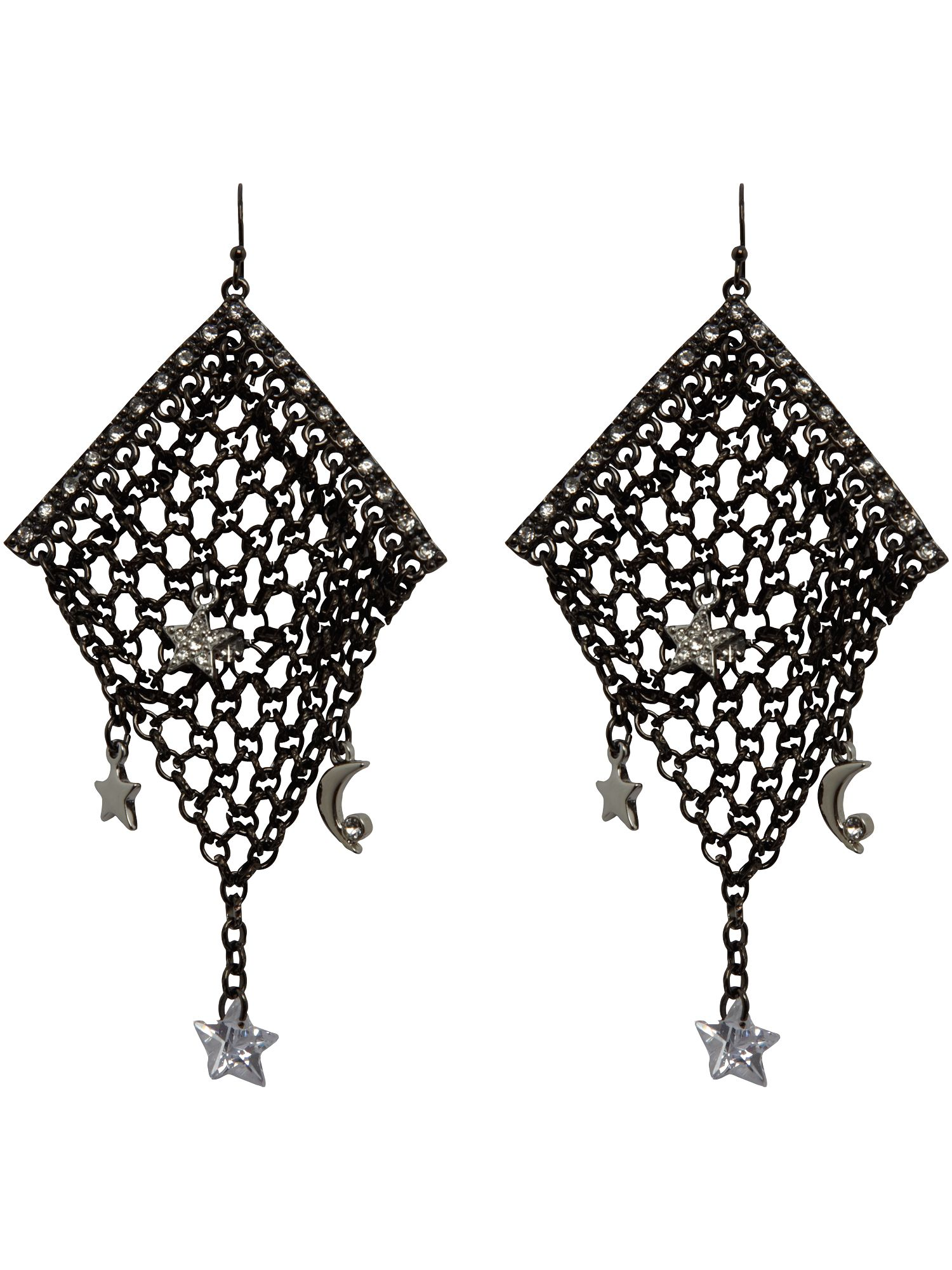 Guess Star detail silver plated drop earrings