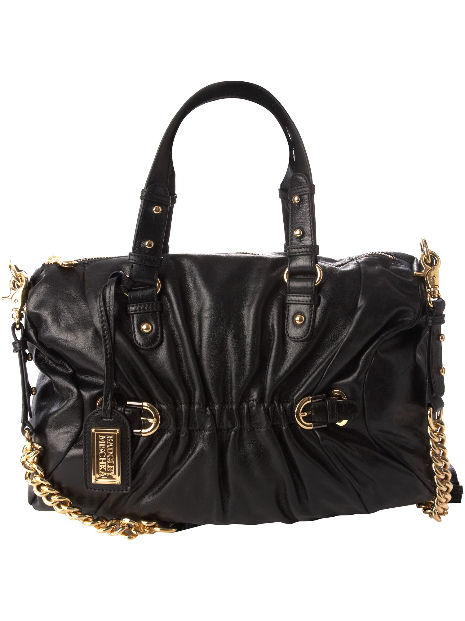 Badgley Mischka Arlette large leather bowling bag. product image