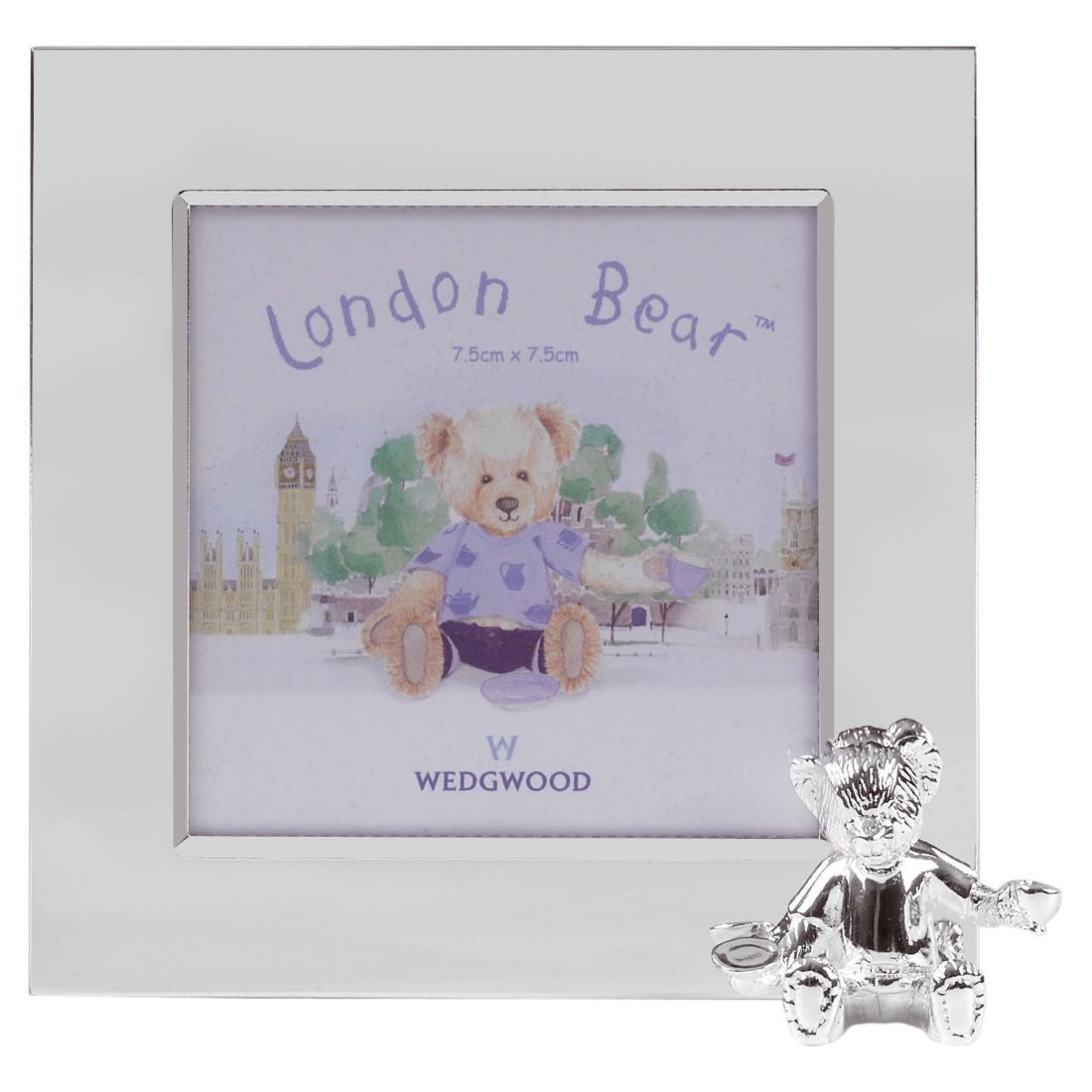 London bear silver photo frame 8x8 cm