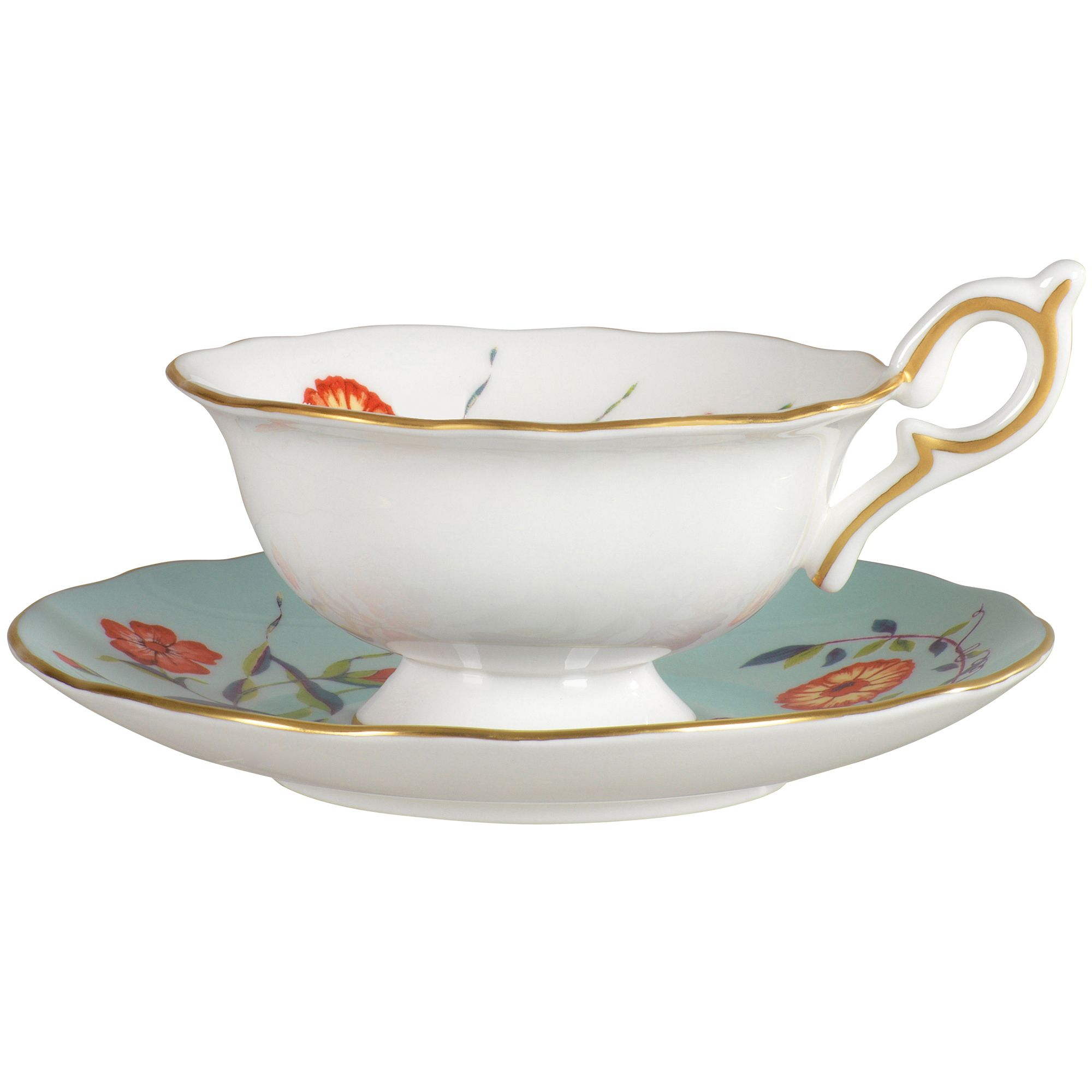 Turquoise crocus teacup and saucer