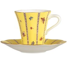 Wedgwood Yellow butterfly teacup and saucer
