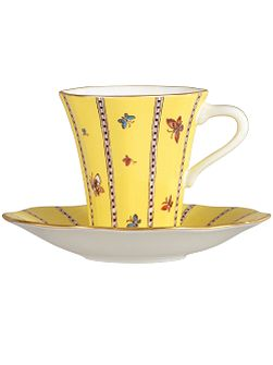 Yellow butterfly teacup and saucer