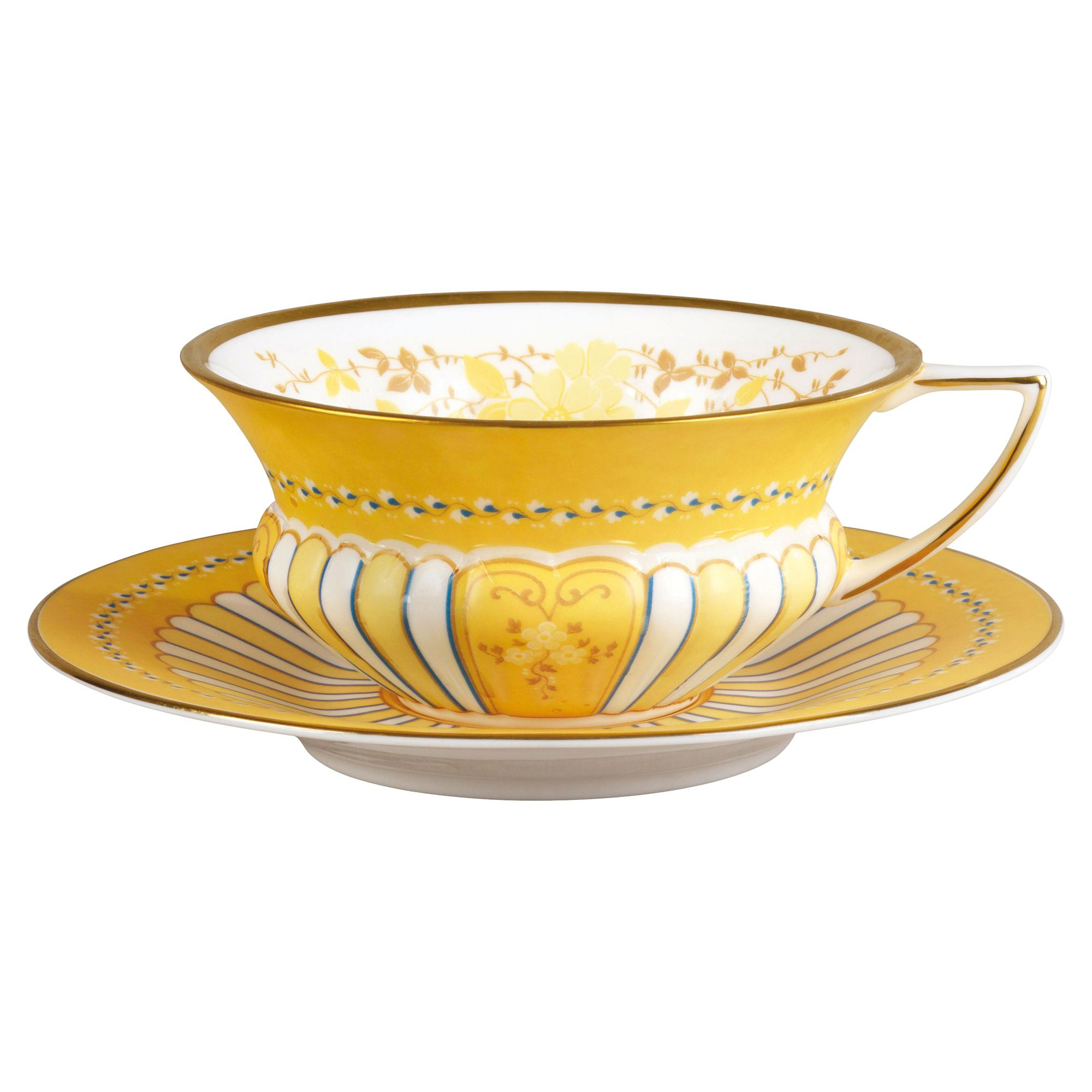 Harlequin ribbon cup & saucer set yellow
