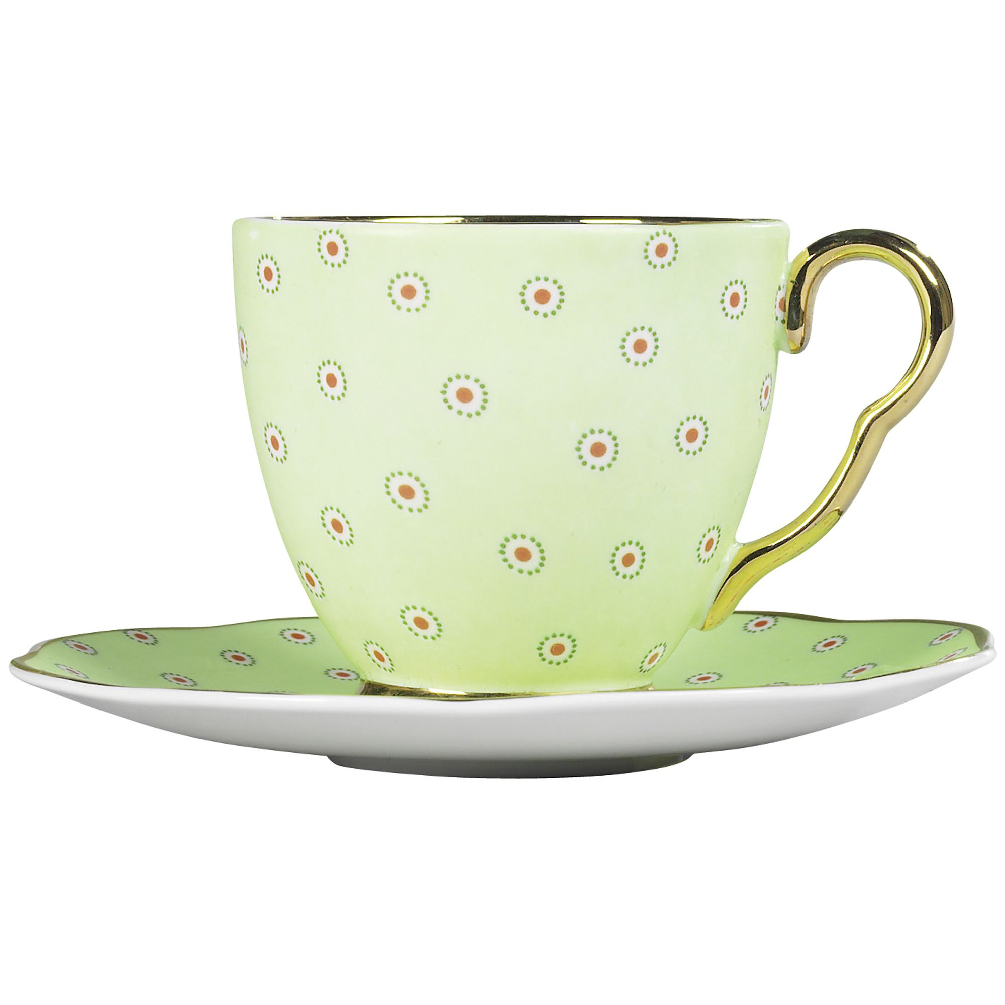 Polka dot cup and saucer