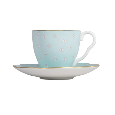 Wedgwood Polka Dot Cup and Saucer - Turquoise
