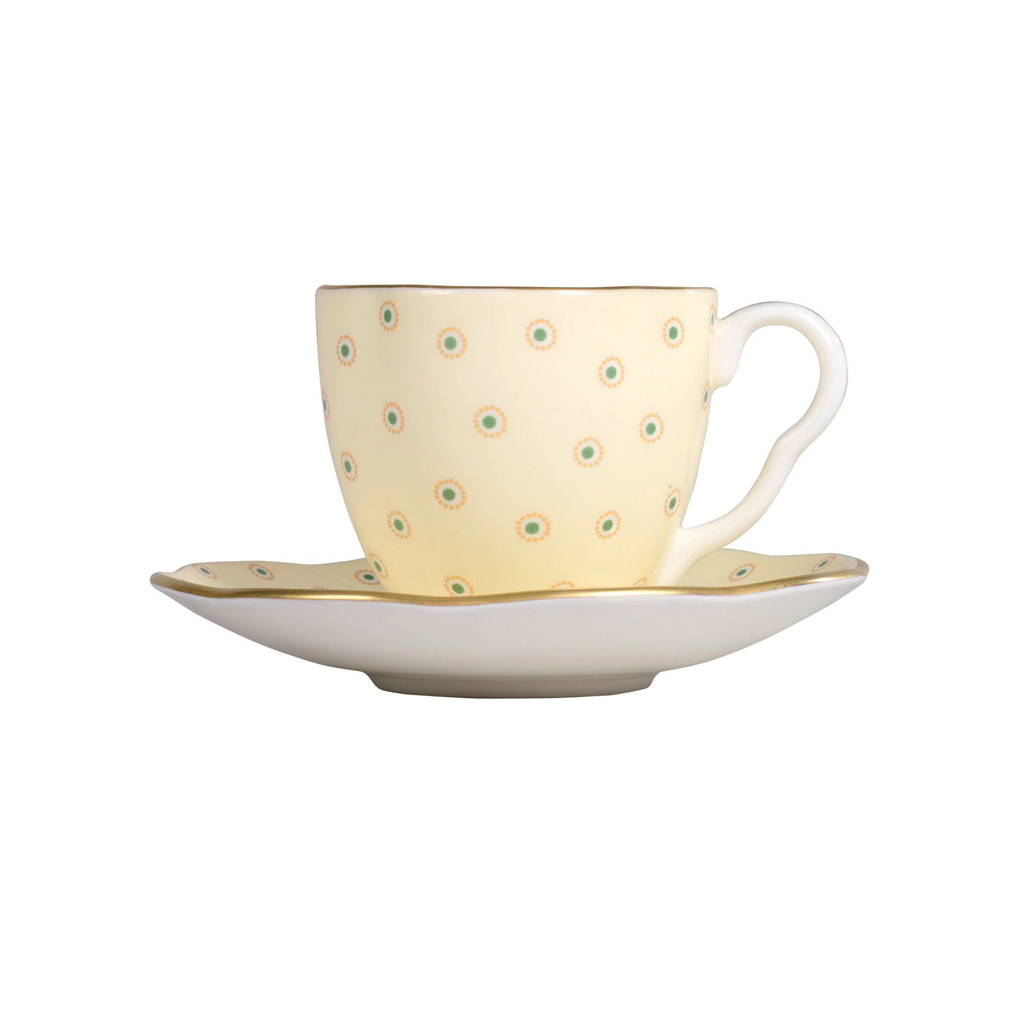 Polka Dot Cup and Saucer - Yellow