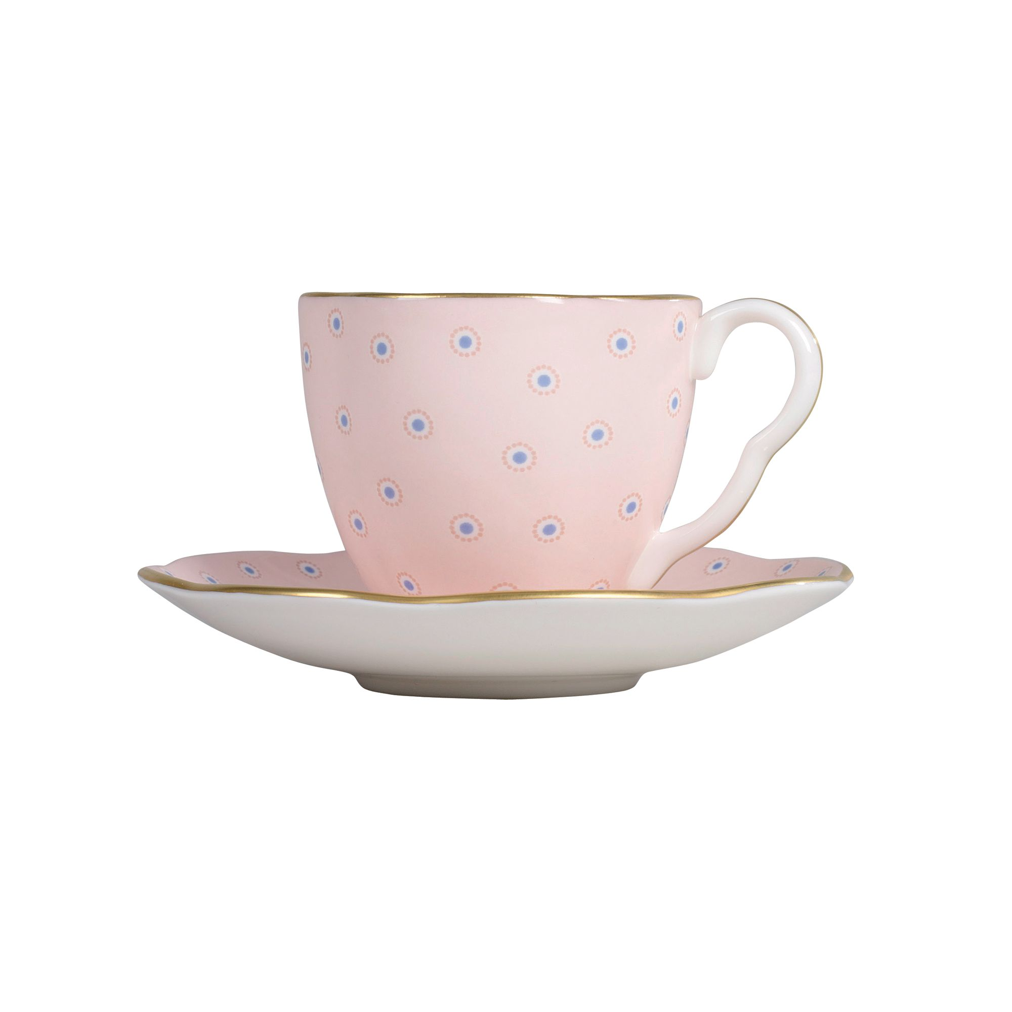 Polka Dot Cup and Saucer - Pink