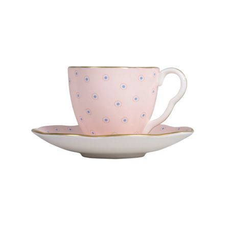 Wedgwood Polka Dot Cup and Saucer - Pink