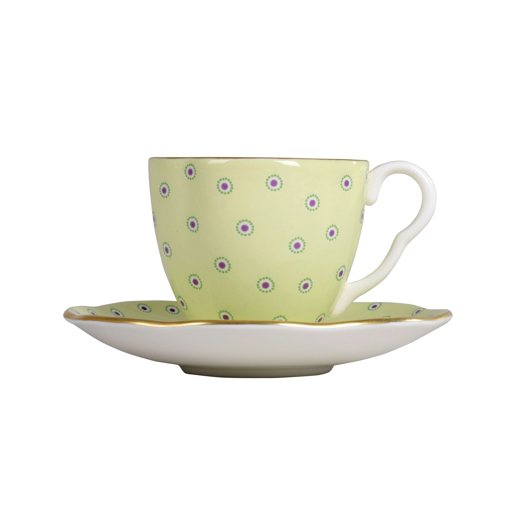 Polka Dot Cup and Saucer - Green