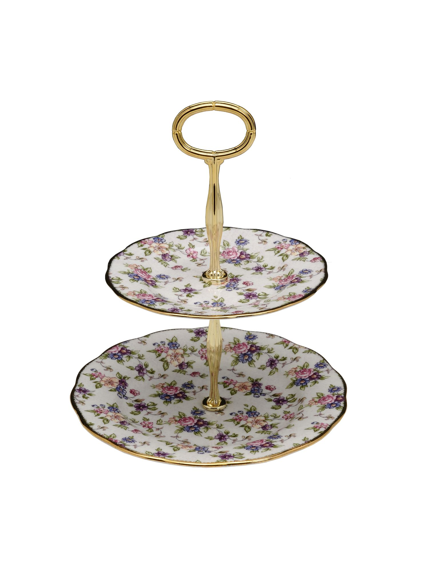 100 years of 1940 english chintz cake stand