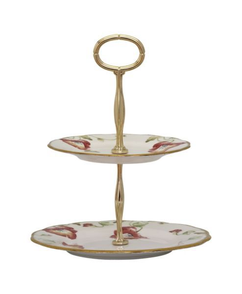 100 years of 1970 poppy 2 tier cake stand