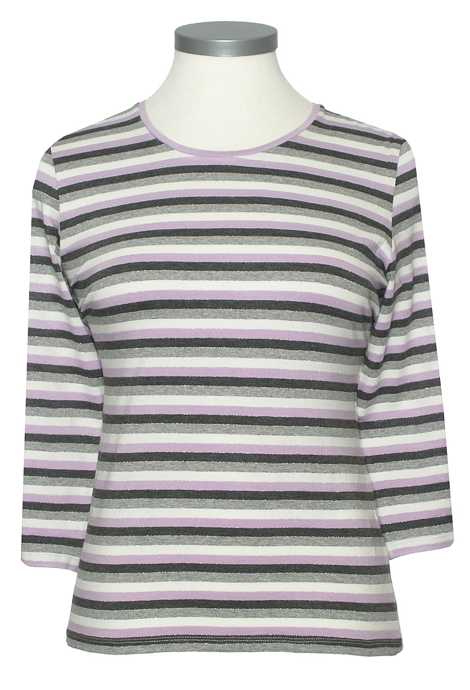 Eastex 3/4 Sleeve Lurex Stripe Tee product image