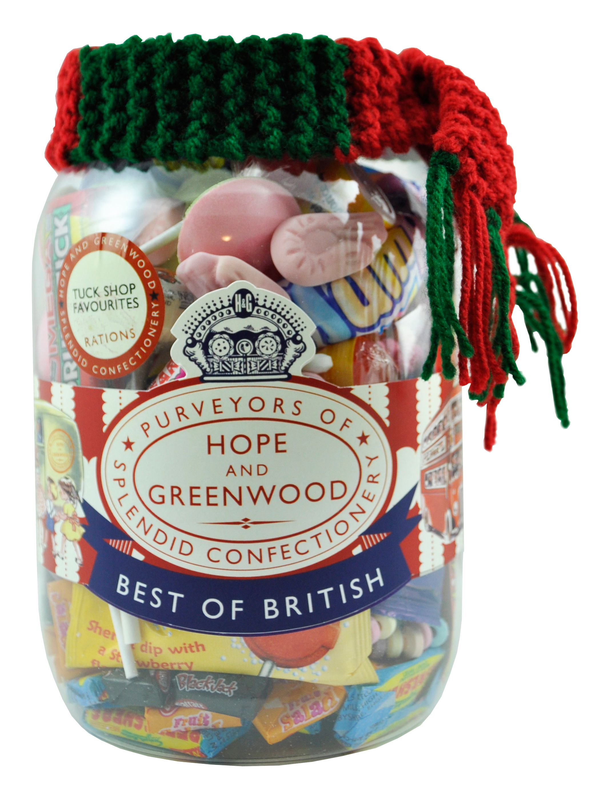 Tuck shop jar with woolly scarf