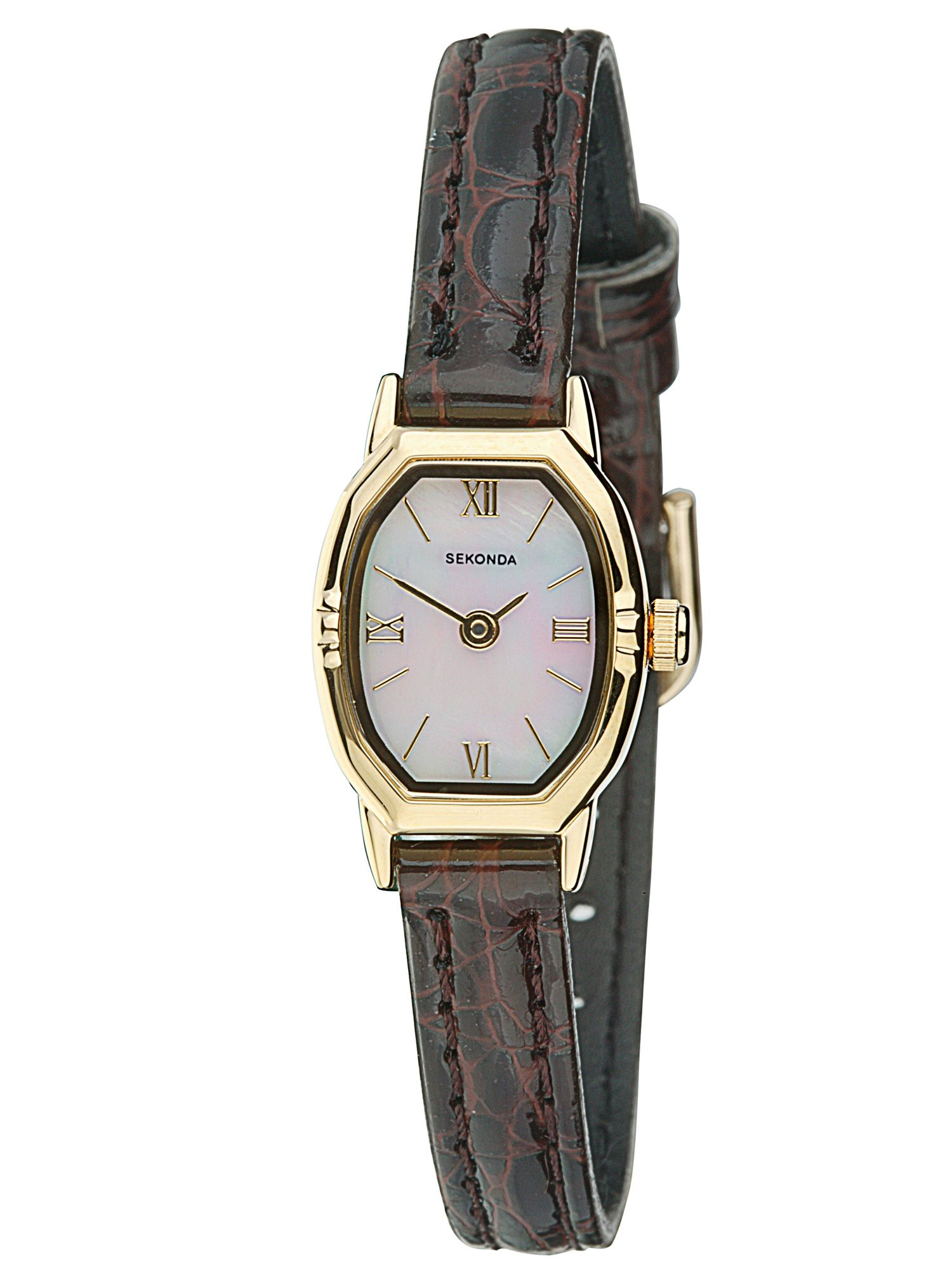 Gold plated leather alligator strap watch