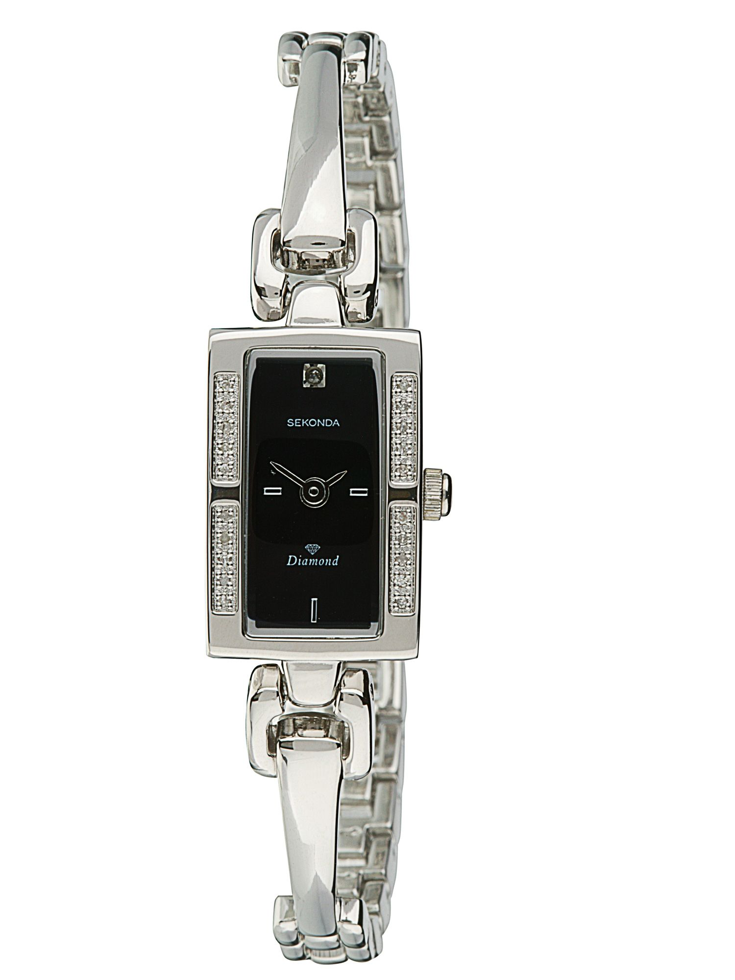 Semi bangle diamond set watch