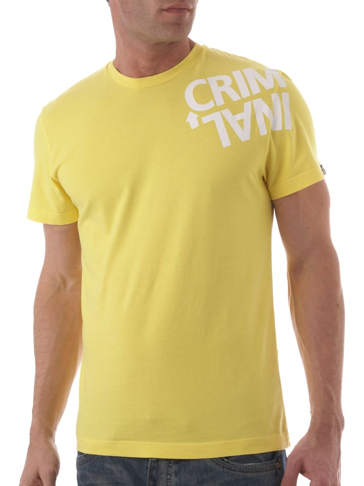 Criminal-Basic-Twisted-Logo-Print-Crew-Neck-T-Shirt-In-Lemon