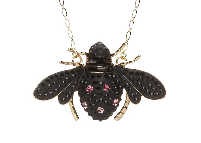 Jet beetle charm necklace