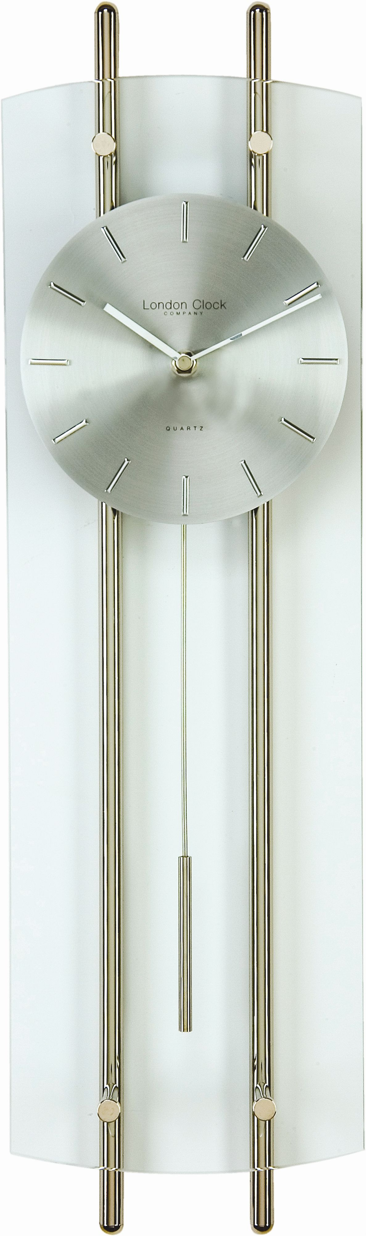 Clear glass pendulum bar wall clock