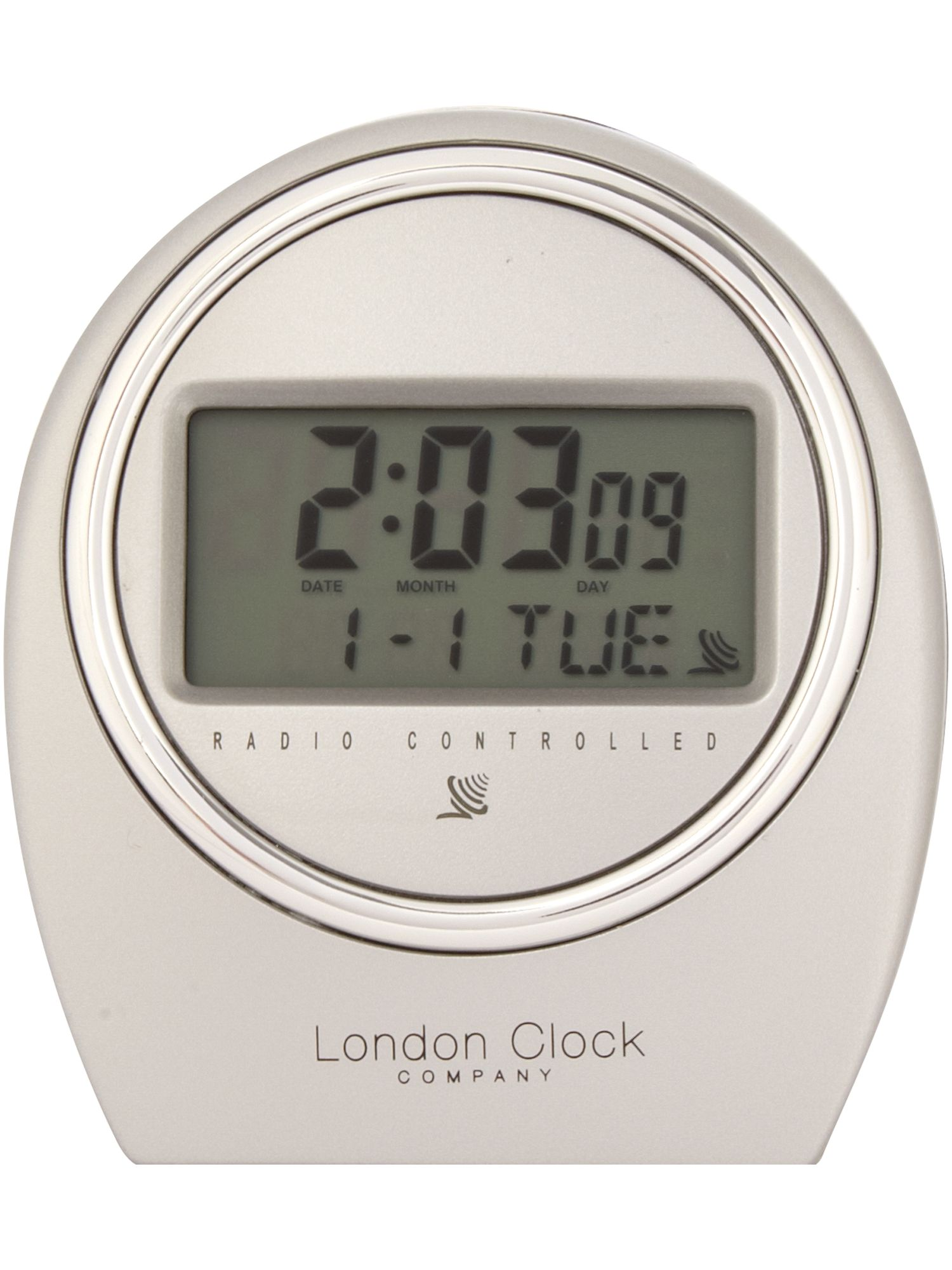 london clock radio controlled silver case alarm review. Black Bedroom Furniture Sets. Home Design Ideas