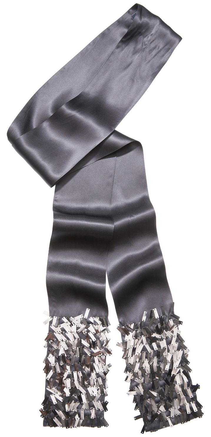 Slate silk metal trim scarf