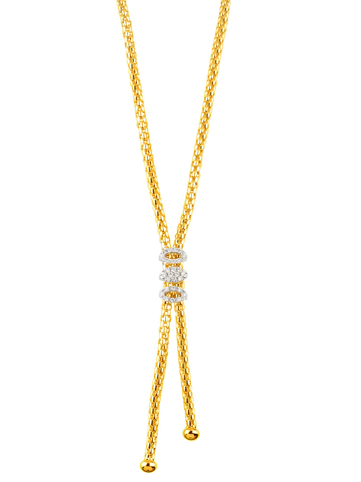 Fope 18ct 2 colour gold 0.25ct diamond necklace