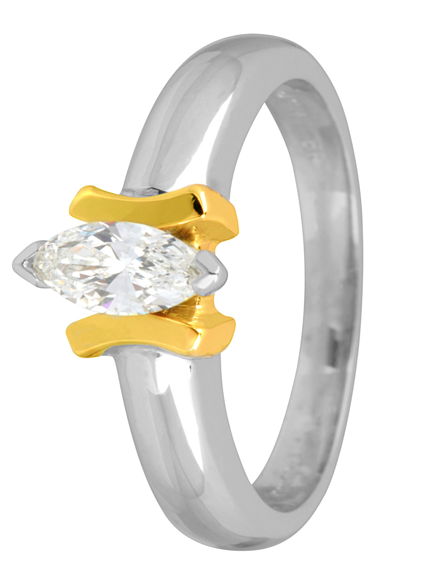 18ct white and yellow gold marquise cut ring - Multi-Coloured