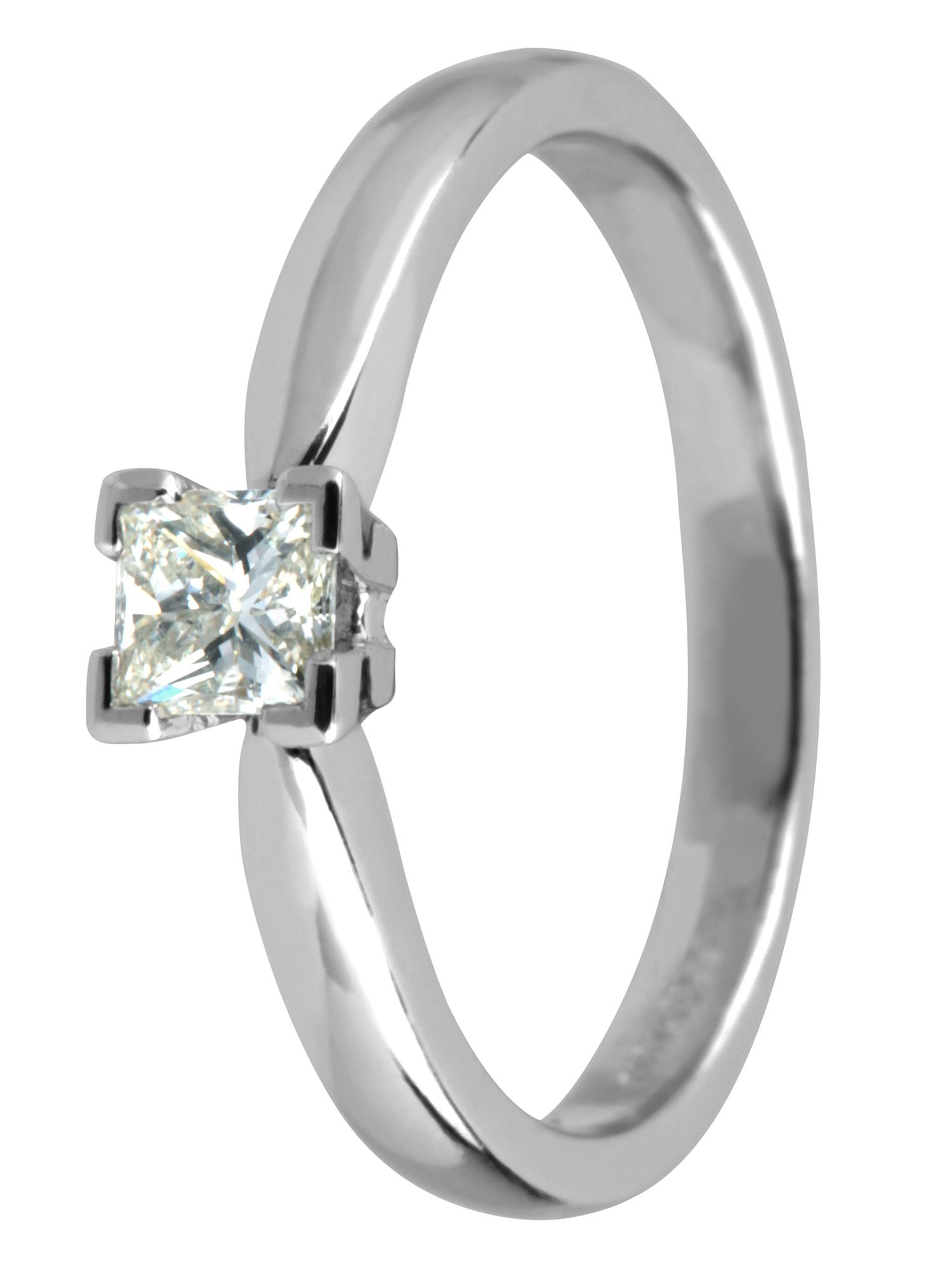 Platinum princess cut diamond ring Silver