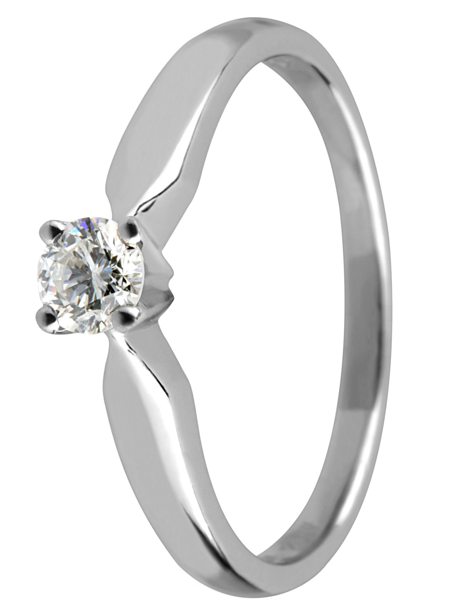 Platinum single stone claw set diamond ring - Silver