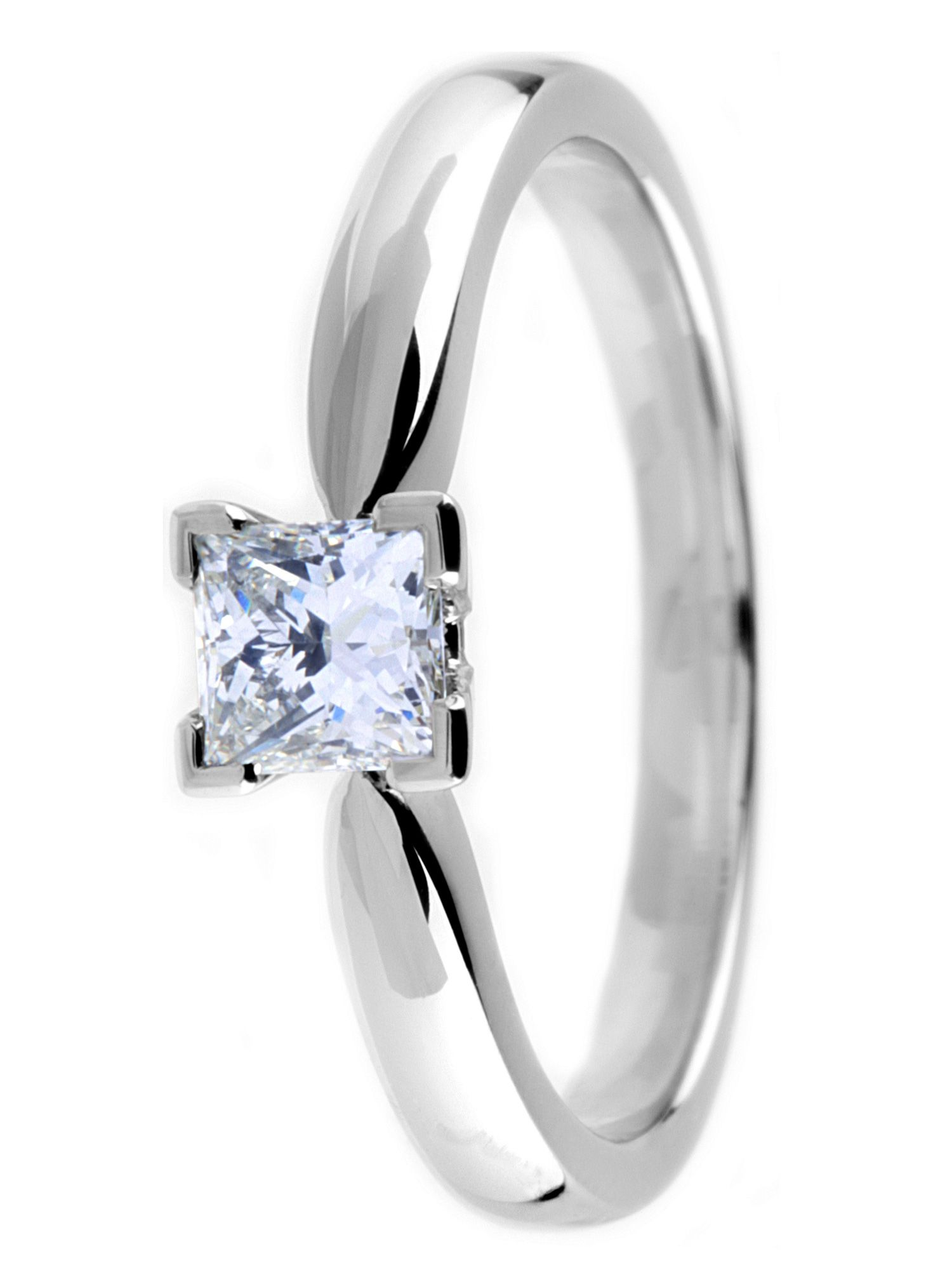 Platinum princess cut diamond solitaire ring - Silver