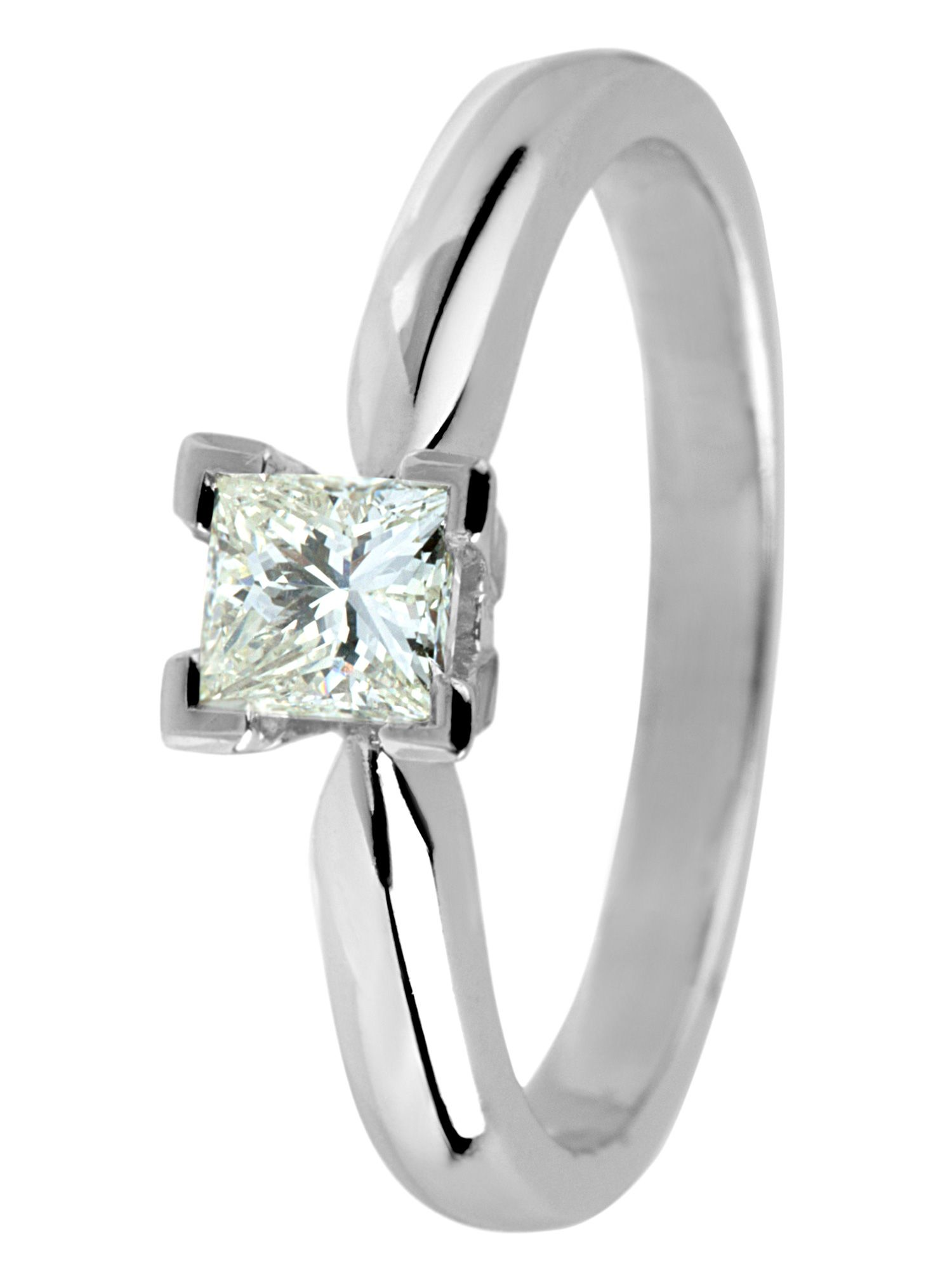 18ct gold, 0.75ct solitaire diamond ring - White Gold