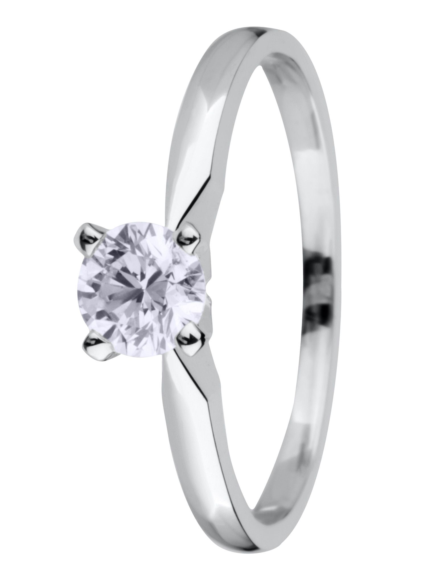 Goldsmiths 18ct gold solitaire 0.50ct diamond ring, White Gold