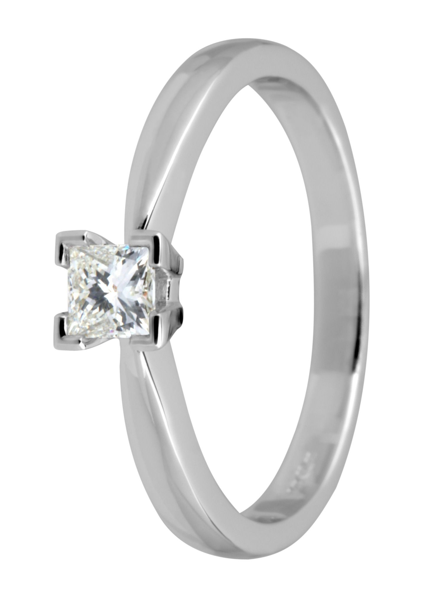 18ct white gold 0.25ct princess cut ring - White Gold
