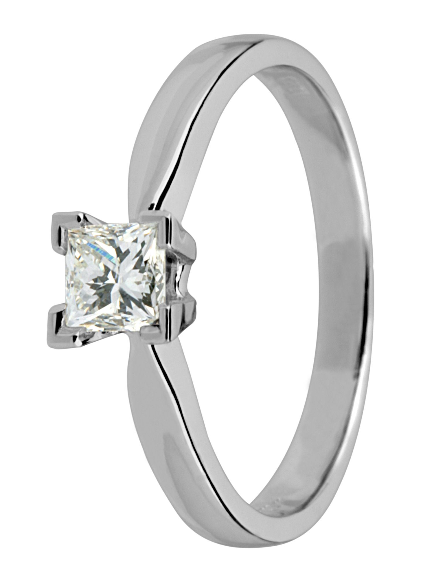 18ct white gold 0.33ct princess cut ring - White Gold